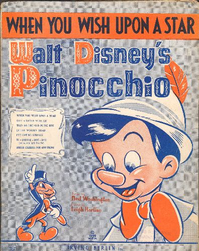 Disney - When You Wish Upon A Star - Vintage SHEET MUSIC for the Classic Disney Song featured in film -Pinocchio- - VG6/ - Sheet Music