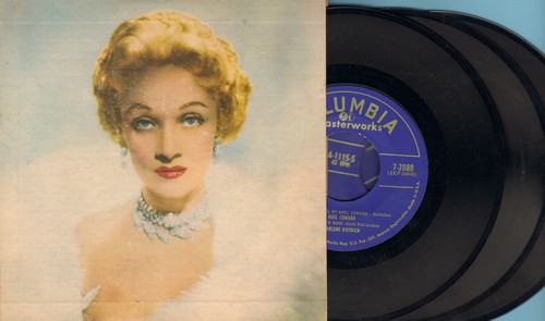 Dietrich, Marlene - At The Café De Paris: Lili Marlene, Jonny, The Laziest Gal In Town, Lola, The Boys In The Backroom, Falling In Love Again, Look Me Over Closely (3 vinyl EP records in gate-fold picture album) - EX8/EX8 - 45 rpm Records