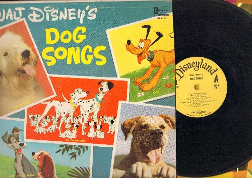 Disney - Walt Disney's Dog Songs: Bella Notte, La La Lu, Shaggy Dog, 101 Dalmaions, Old Yeller (Vinyl MONO LP record) - VG7/VG7 - LP Records