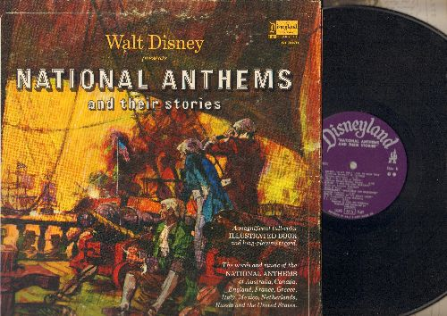 Disney - Walt Disney Presents National Anthems And Their Stories - with ILLUSTRATED full-color pages (Vinyl STEREO LP record, gate-fold cover) - NM9/VG7 - LP Records