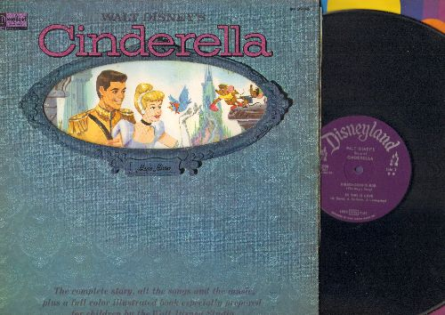 Disney - Cinderella - The Beloved Disney Classic in song and pictures (Vinyl MONO LP record with picture pages, purple label, gatefold cover) - EX8/EX8 - LP Records