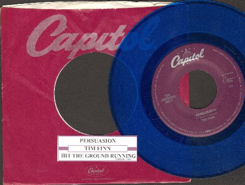 Finn, Tim - Persuasion/Hit The Ground Running (Blue Vinyl pressing with juke box label and Capitol company sleeve) - NM9/ - 45 rpm Records