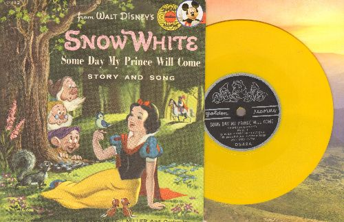 The Sandpipers, Mitchell Meller & Orchestra - Some Day My Prince Will Come - Story and Song from Disney's Snow White & The 7 Dwarfs (RARE vintage 5 inch 78rpm Little Golden Record with picture sleeve, small spindle hole) - EX8/EX8 - 78 rpm