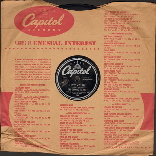 Dinning Sisters - I Love My Love/And Then It's Heaven (10 inch 78 rpm record with Capitol company sleeve) - VG7/ - 78 rpm