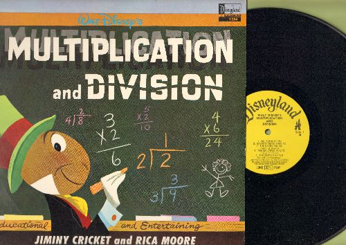 Disney - Multiplication and Division - Education and Entertaining, featuring Jimini Cricket and Rica Moore (Vinyl MONO LP record) - NM9/NM9 - LP Records