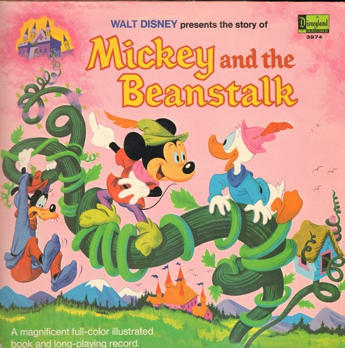 Disney - Mickey And The Beanstalk (Vinyl MONO LP record with full-color picture pages, gate-fold cover) - EX8/VG7 - LP Records