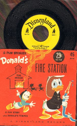 Disney - Fire Station - A fun story, narrated by Jiminy Cricket, with Donald and his Nephews/Donald's Tmper (with picture sleeve) - EX8/NM9 - 45 rpm Records