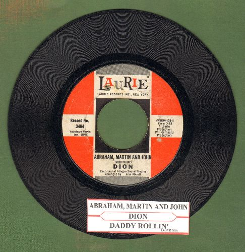Dion - Abraham, Martin And John/Daddy Rollin' (with juke box label) (bb) - EX8/ - 45 rpm Records