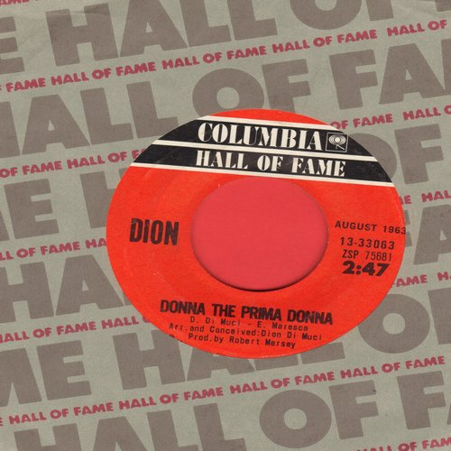 Dion - Donna The Prima Donna/Ruby Baby (double-hit re-issue with Columbia company sleeve) - EX8/ - 45 rpm Records