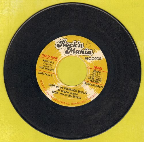 Dion & The Belmonts - Dion & The Belmonts Medley (All Original Tracks)/The Majestic (1980s pressing with Rock'n Mania company sleeve) - EX8/ - 45 rpm Records
