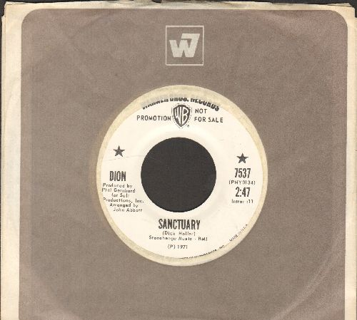 Dion - Sanctuary/Brand New Morning (DJ advance pressing with vintage Warner Brothers company sleeve) - NM9/ - 45 rpm Records