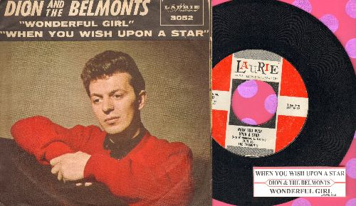 Dion & The Belmonts - When You Wish Upon A Star/Wonderful Girl (with picture sleeve and juke box label) - EX8/VG7 - 45 rpm Records