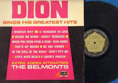 Dion - Dion Sings His Greatest Hits: Teenager In Love, Teen Angel, That's My Desire, Where Or When, I Wonder Why, Lonely Teenager, When You Wish Upon A Star (Vinyl MONO LP record) - EX8/EX8 - LP Records