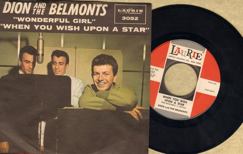 Dion & The Belmonts - When You Wish Upon A Star/Wonderful Girl (MINT condition with picture sleeve) - M10/NM9 - 45 rpm Records