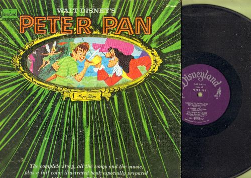 Disney - Peter Pan - Complete Story And Songs, gate-fold cover with full-color picture pages. - EX8/EX8 - LP Records