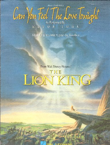 Disney - Can You Feel The Love Tonight - SHEET MUSIC for the love theme from Disney's -The Lion King- (BEAUTIFUL cover art, suitable for framing!) - NM9/ - Sheet Music