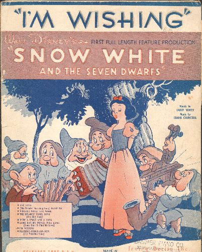 Disney - I'm Wishing - Vintage SHEET MUSIC for the song featured in Walt Disney's -Snow White- (BEAUTIFUL cover art, suitable for framing!)(minor woc) - VG7/ - Sheet Music