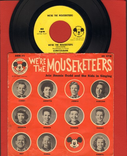 Disney - We're The Mouseketeers/Schnitzelbank/Hi To You (Around The World)/Mouseketter Closing Theme (Vinyl EP record with picture cover) - EX8/VG6 - 45 rpm Records
