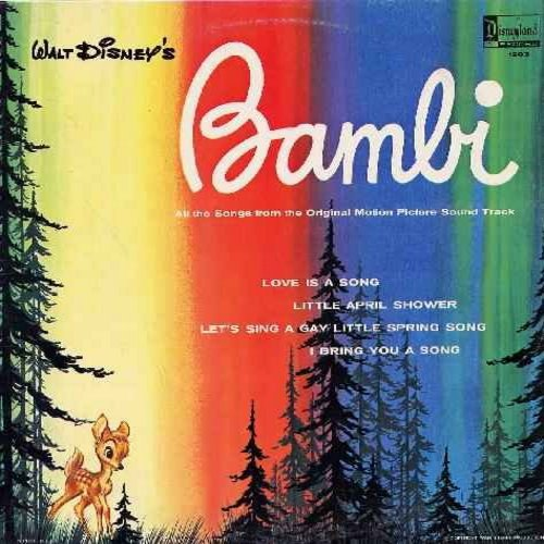 Disney - Bambi - All the Songs from the Original Motion Picture Sound Track - includes Love Is A Song, Little April Shower, I Bring You A Song (Vinyl LP record) - EX8/VG7 - LP Records