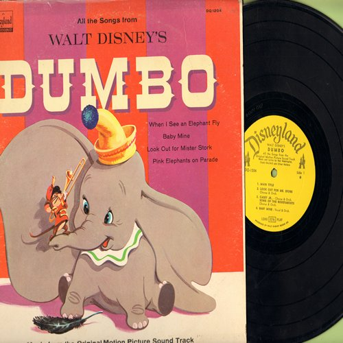 Disney - Dumbo - All the songs from the Walt Disney Classic, includes Baby Mine, When I See An Elephant Fly, Pink Elephants On Parade (Vinyl MONO LP record, 1963 issue) - EX8/EX8 - LP Records