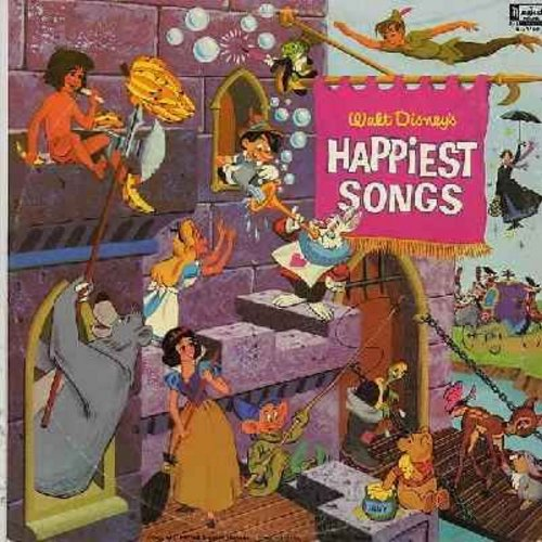 Disney - Walt Disney's Happiest Songs: Heigh-Ho, When You Wish Upon A Star, Bibbidi Bobbidi Boo, You Can Fly, Supercalifragilisticexplialidocious, (Vinyl MONO LP record, wol) - VG7/VG7 - LP Records