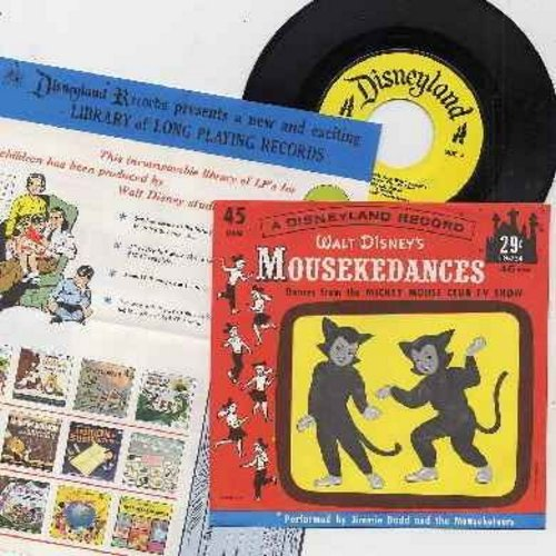 Disney - Mousekedances - Dances from the Mickey Mouse Club TV Show, Performed by Jimmie Dodd and the Mouseketeers (with picture sleeve and RARE BONUS vintage Disneyland Records advertisement!) - NM9/NM9 - 45 rpm Records