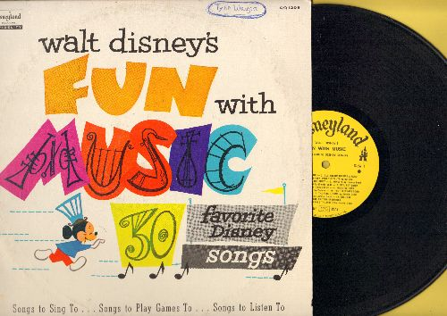 Disney - Fun With Music - 30 Favorite Disney Songs, songs to sing to, songs to play games to, songs to listen to. (Vinyl MONO LP record) - EX8/VG7 - LP Records