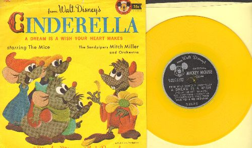 Disney - A Dream Is A Wish Your Heart Makes - From Walt Disney's Cinderella (sung by The Mice, Anne Lloyd and The Sandpipers with Mitch Miller & Orchestra) (5 inch Little Golden Record with picture sleeve) - EX8/EX8 - 78 rpm