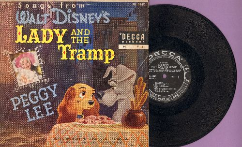 Lee, Peggy - Songs from Walt Disney's Lady And The Tramp: The Simaese Cat Song/He's A Tramp/Bella Notte/Lady + 4 ( 10 inch LP with picture cover, 1955 first pressing) - VG6/VG7 - LP Records