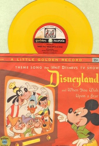 Disney - Theme Song from Walt Disney's TV Show Disneyland/When You Wish Upon A Star (5 inch 78rpm Little Golden Record with picture sleeve) - EX8/EX8 - 78 rpm