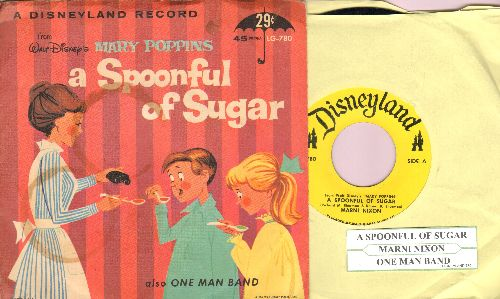 Nixon, Marnie - A Spoonful Of Sugar/One Man Band (both titles from Walt Disney's Mary Poppins) (with juke box label and picture sleeve) - NM9/VG7 - 45 rpm Records