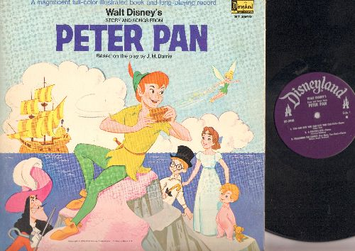 Disney - Peter Pan: Complete story, songs and music with picture pages (Vinyl STEREO LP record, alternate cover) - VG7/VG7 - LP Records