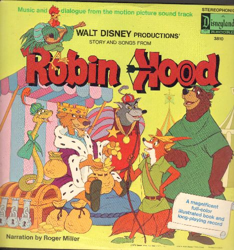 Disney - Robin Hood - Story and Songs, Narration by Roger Miller (vinyl STEREO LP record, gate-fold cover, picture pages) - VG7/VG7 - LP Records