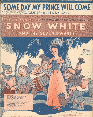 Disney - Someday My Prince Will Come - Vintage SHEET Music for the song featured in Disney Classic -Snow White- (BEAUTIFUL cover art!) - VG7/ - Sheet Music