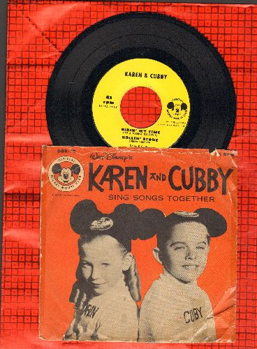 Karen & Cubby - Bidin' My Time/Rollin' Stone/What The Well Dressed Hobo Will Wear (with picture sleve, NICE cover portrait of Mouseketeers Karen & Cubby) - NM9/VG6 - 45 rpm Records