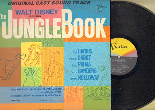 Disney - Jungle Book - Original Cast Sound Track featuring Phil Harris, Sebastian Cabot, Louis Prima, Sterling Holloway, others (vinyl MONO LP record, gate-fold cover) - NM9/VG7 - LP Records