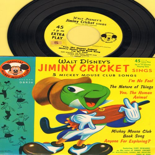 Disney - Jiminy Cricket Sings: I'm No Fool/The Nature Of Things/You, The Human Animal/Mickey Mouse Club Book Song/Anyone For Exploring? (Vinyl EP record with RARE picture cover) - NM9/EX8 - 45 rpm Records