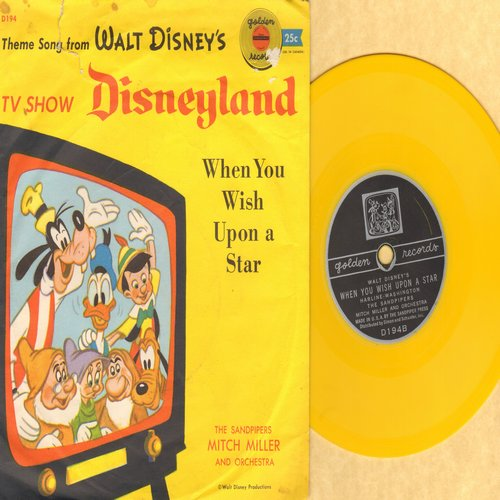 Sandpipers, Mitch Miller & Orchestra - Theme From Walt Disney's TV Show Disneyland/When You Wish Upon A Star (RARE 5 inch 78rpm Little Golden Record with picture sleeve) - EX8/VG7 - 78 rpm