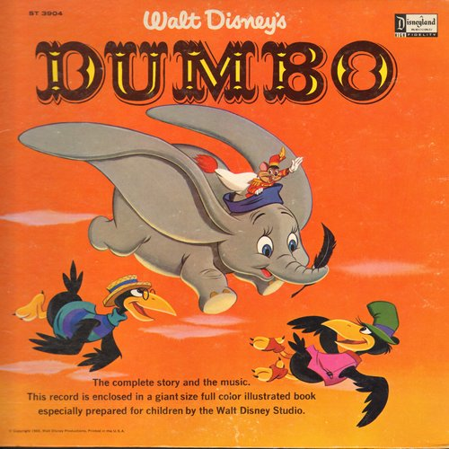 Disney - Walt Disney's Dumbo - The complete story and music, includes giant size full color illustrated pages (Vinyl MONO LP record) - EX8/EX8 - LP Records