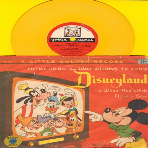 Disney - Dinseyland Theme Song/When You Wish Upon A Star - 5 inch Little Golden 78rpm record with picture sleeve - VG7/VG7 - 78 rpm