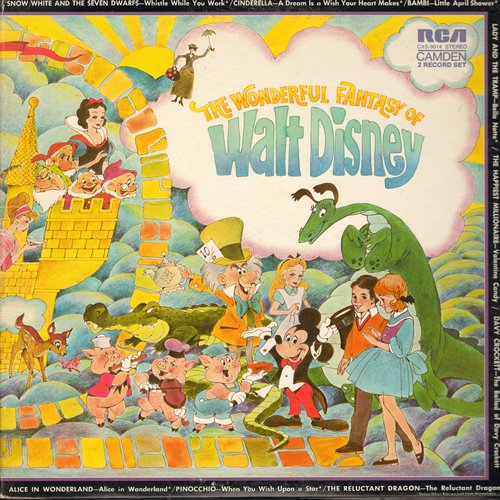 Reisman, Joe & His Orchestra - The Wonderful World Of Disney: When You Wish Upon A Star, Mickey Moue March, The Bare Necessities, Zip-A-Dee-Doo-Dah (2 vinyl STEREO LP record set, gate-fold cover) - EX8/EX8 - LP Records