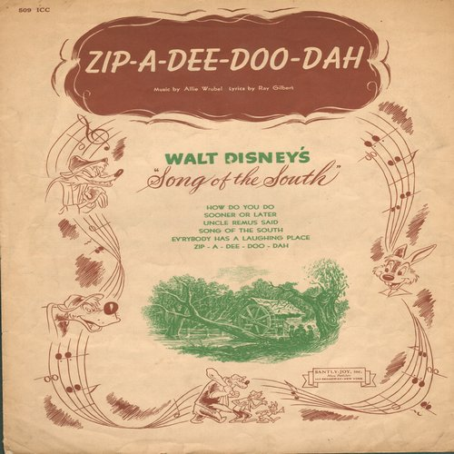 Disney - Zip-A-Dee-Doo-Dah - Vintage SHEET MUSIC for the Disney Classic - (This is SHEET MUSIC, not any other kind of media!) - EX8/ - Sheet Music