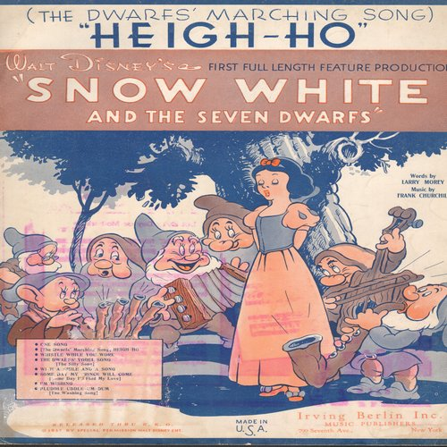 Disney - Heigh-Ho (The Dwarfs' Marching Song) - Vintage SHEET MUSIC for song featured in Disney Classic -Snow White and the Seven Dwarfs- - VG7/ - Sheet Music