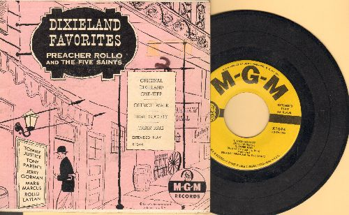 Preacher Rollo & The Five Saints - Dixieland Favorites: Tiger Rag/High Society/Ostrich Walk/Original Dixieland One-Step (vinyl EP record with picture cover) - EX8/VG7 - 45 rpm Records
