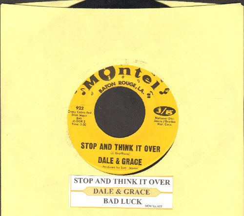 Dale & Grace - Stop And Think It Over/Bad Luck (with juke box label - EX8/ - 45 rpm Records