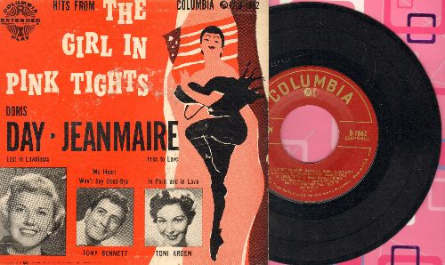 Day. Doris, Tony Bennett, Toni Arden, Percy Faith & His Orchestra - The Girl In Pink Tights - Free Love/Lost In Loveliness/My Heart Won't Say Good-Bye/In Paris And In Love (vinyl EP record with picture cover) - EX8/EX8 - 45 rpm Records