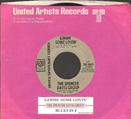 Davis, Spencer Group - Gimme Some Lovin'/Blues In F (early re-issue with juke box label and company sleeve) - VG7/ - 45 rpm Records