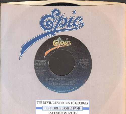 Daniels, Charlie Band - The Devil Went Down To Georgia /Rainbow Ride (FANTASTIC Southern Rock Classic!)/Money (with juke box label and Epic company sleeve) - NM9/ - 45 rpm Records