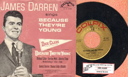 Darren, James - Because They're Young/Tears In My Eyes (with juke box label and RARE picture sleeve) - NM9/VG7 - 45 rpm Records