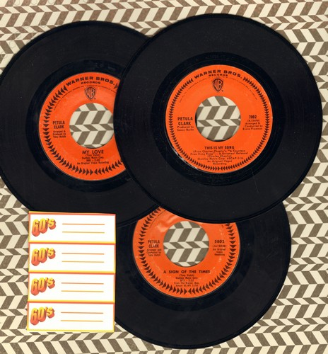 Clark, Petula - Set of 3 first isue 45s. Hits include My Love, This Is My Song, Time For Love. Shipped in plain white paper sleeves with 4 blank juke box labels. GREAT for a juke box! - EX8/ - 45 rpm Records